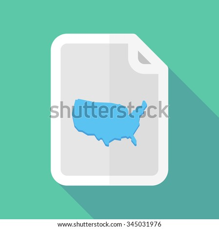 Illustration of a long shadow document vector icon with  a map of the USA - stock vector