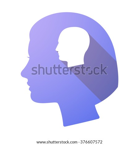 Illustration of a long shadow female head with a male head