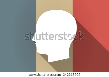 Illustration of a long shadow flag of France vector icon with a male head