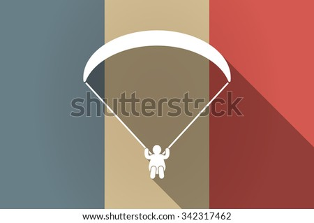 Illustration of a long shadow flag of France vector icon with a paraglider - stock vector
