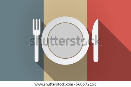 Illustration of a long shadow France flag with  a dish, knife and a fork icon