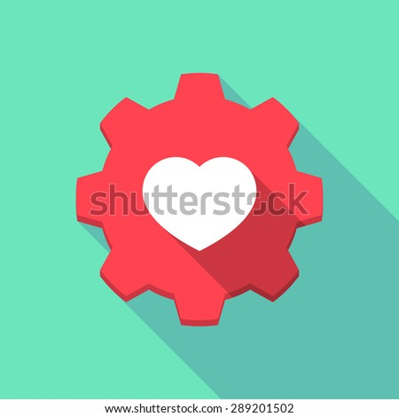 Illustration of a long shadow gear icon with a heart - stock vector