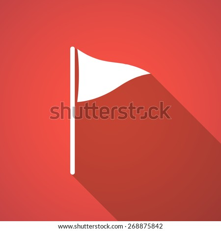 Illustration of a long shadow golf flag icon - stock vector