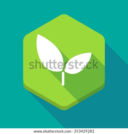 Illustration of a long shadow hexagon icon with a plant - stock vector