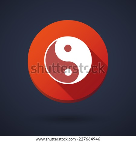 Illustration of a long shadow icon with a ying yang - stock vector