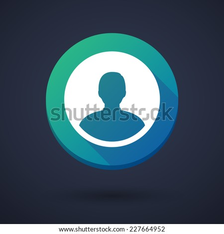 Illustration of a long shadow icon with an avatar - stock vector