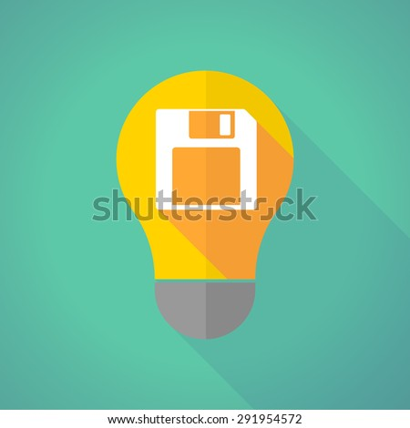 Illustration of a long shadow light bulb with a floppy disk - stock vector