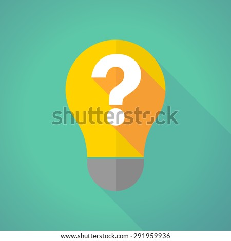 Illustration of a long shadow light bulb with a question sign - stock vector