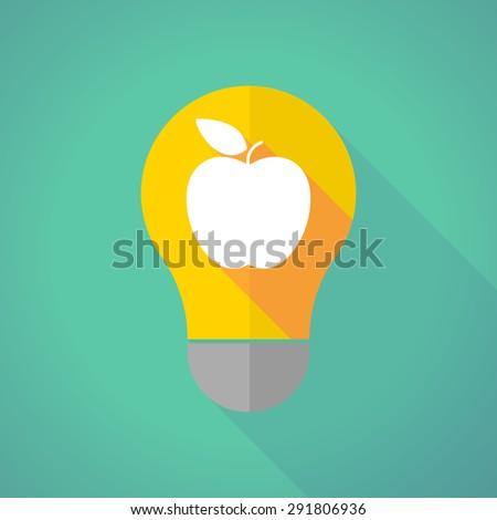 Illustration of a long shadow light bulb with an apple - stock vector