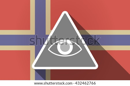 Illustration of a long shadow Norway flag with an all seeing eye