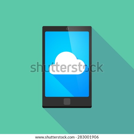 Illustration of a long shadow phone icon with a cloud