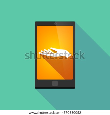 Illustration of a long shadow phone icon with  a hand offering - stock vector