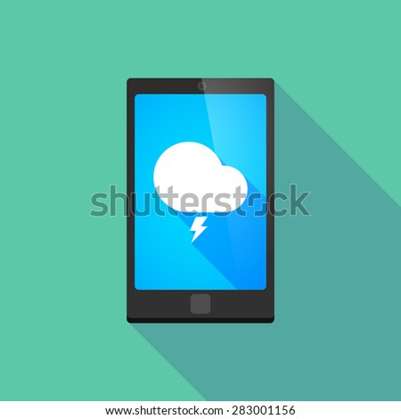 Illustration of a long shadow phone icon with a stormy cloud