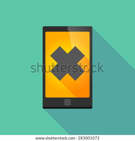 Illustration of a long shadow phone icon with an irritating substance sign - stock vector