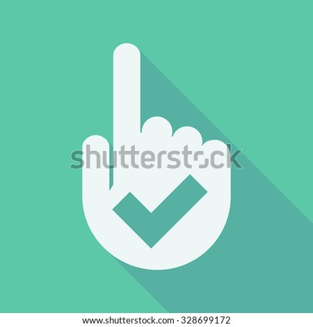 Illustration of a long shadow pointing finger hand with a check mark - stock vector