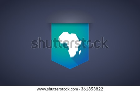 Illustration of a long shadow ribbon icon with  a map of the african continent - stock vector