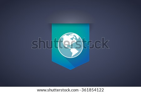 Illustration of a long shadow ribbon icon with an America region world globe - stock vector
