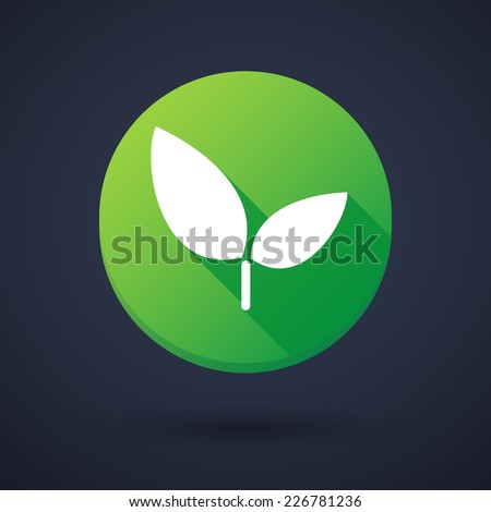 Illustration of a long shadow round icon with a plant - stock vector