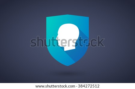 Illustration of a long shadow shield icon with  a male head