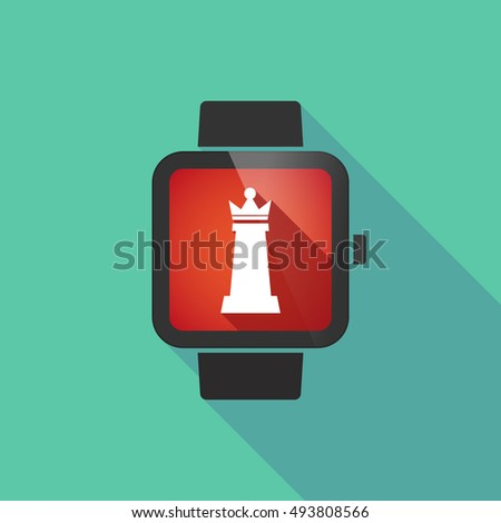 Illustration of a long shadow smart watch with a  queen   chess figure