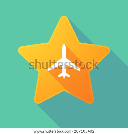 Illustration of a long shadow star icon with a plane - stock vector