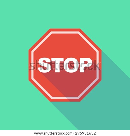 Illustration of a long shadow stop signal - stock vector