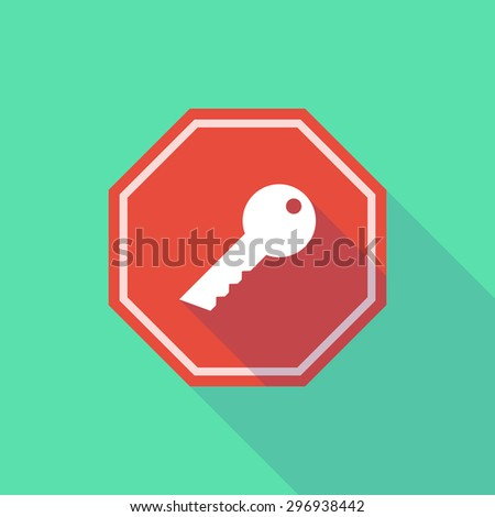 Illustration of a long shadow stop signal with a key - stock vector