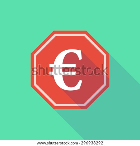 Illustration of a long shadow stop signal with an euro sign - stock vector