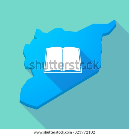 Illustration of a long shadow Syria map with a book