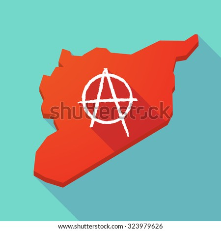 Illustration of a long shadow Syria map with an anarchy sign - stock vector