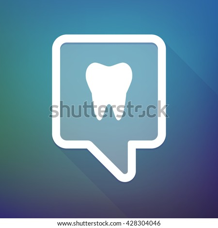 Illustration of a long shadow tooltip icon on a gradient background  with a tooth - stock vector