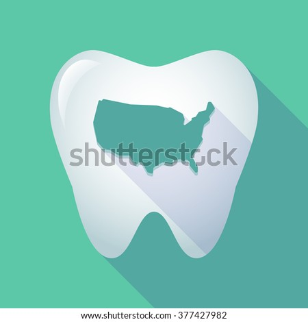 Illustration of a long shadow tooth icon with  a map of the USA