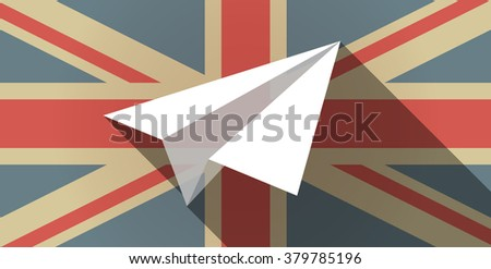 Illustration of a long shadow UK flag icon with a paper plane