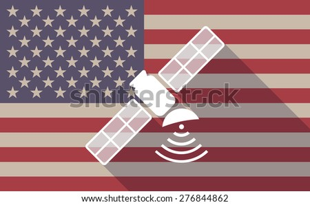 Illustration of a long shadow USA flag icon with a satellite - stock vector