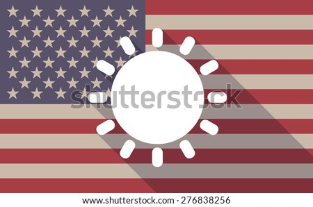 Illustration of a long shadow USA flag icon with a sun - stock vector