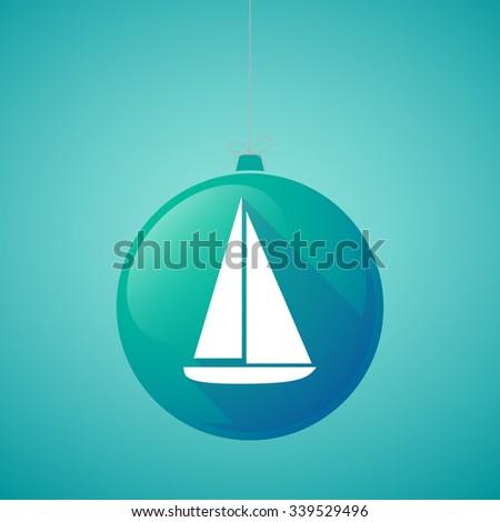 Illustration of a long shadow vector christmas ball icon with a ship - stock vector