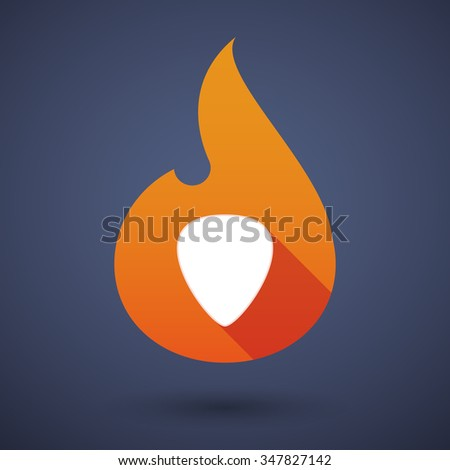 Illustration of a long shadow vector flame icon with a plectrum - stock vector