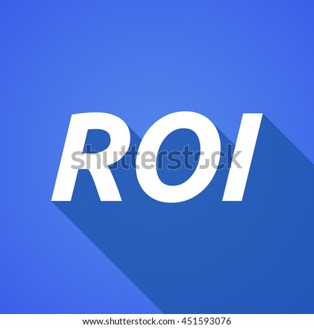 Illustration of a long shadow vector illustration of    the return of investment acronym ROI