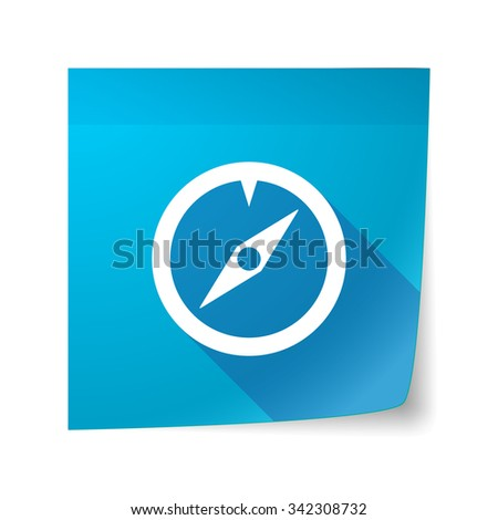 Illustration of a long shadow vector sticky note icon with a compass - stock vector