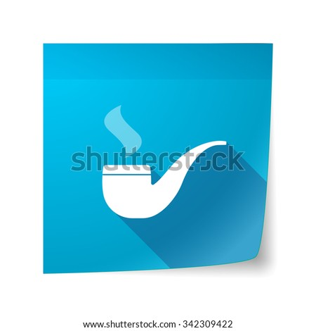 Illustration of a long shadow vector sticky note icon with a smoking pipe - stock vector