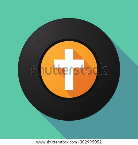 Illustration of a long shadow vinyl record with a Christian cross - stock vector