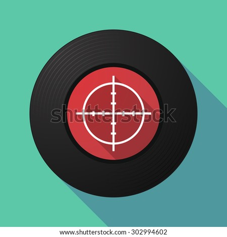 Illustration of a long shadow vinyl record with a crosshair - stock vector