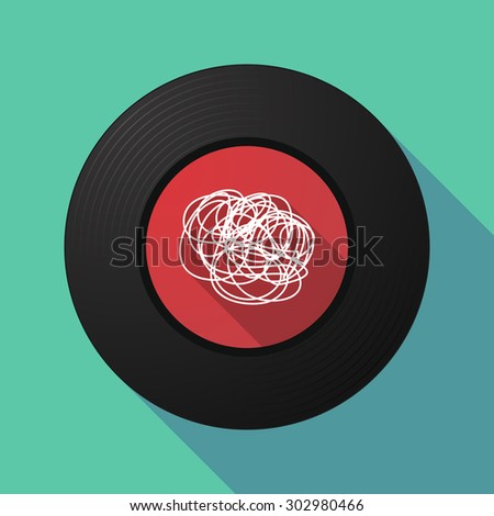 Illustration of a long shadow vinyl record with a doodle - stock vector
