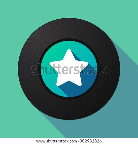 Illustration of a long shadow vinyl record with a star - stock vector