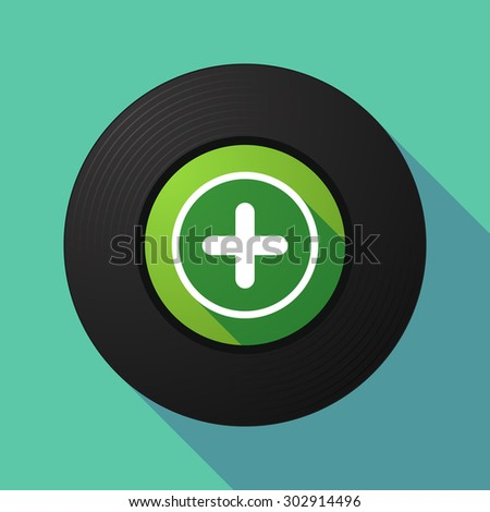 Illustration of a long shadow vinyl record with a sum sign - stock vector