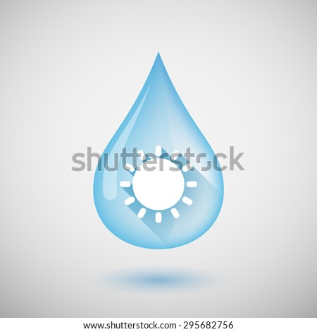 Illustration of a long shadow water drop icon with a sun - stock vector