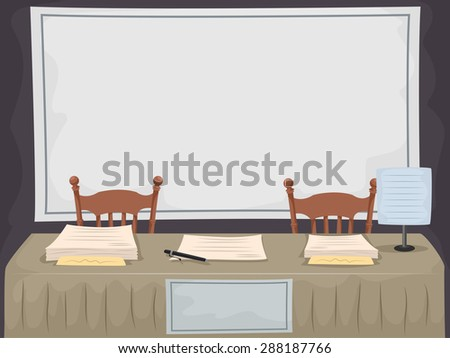 Illustration of a Long Table Set Up for Recruiting New Members - stock vector