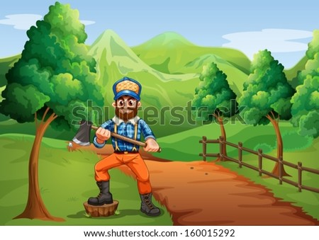 Illustration of a lumberjack near the road carrying an axe - stock vector