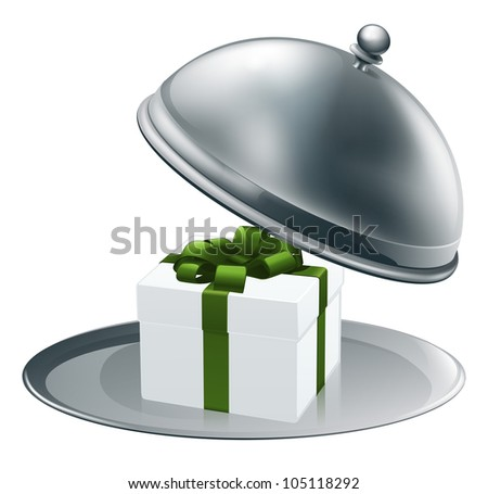 Illustration of a luxury gift on a silver platter tied with green ribbon and bow - stock vector