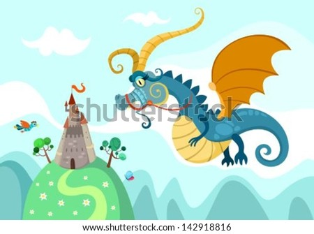 illustration of a magic dragon - stock vector